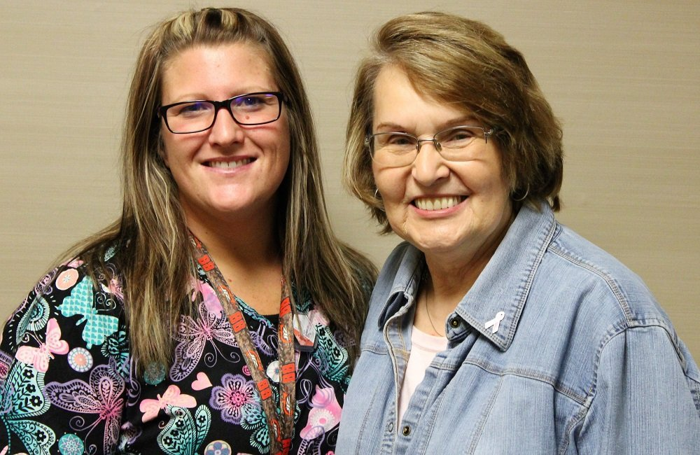 Rose Kaven smiling with mammography tech