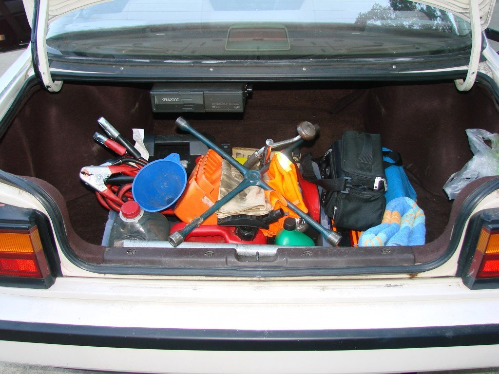 Walt Brinker, author of Roadside Survival, recommended car roadside emergency kit in trunk