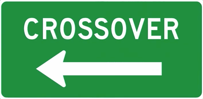 this traffic sign shows you where to crossover on the highway