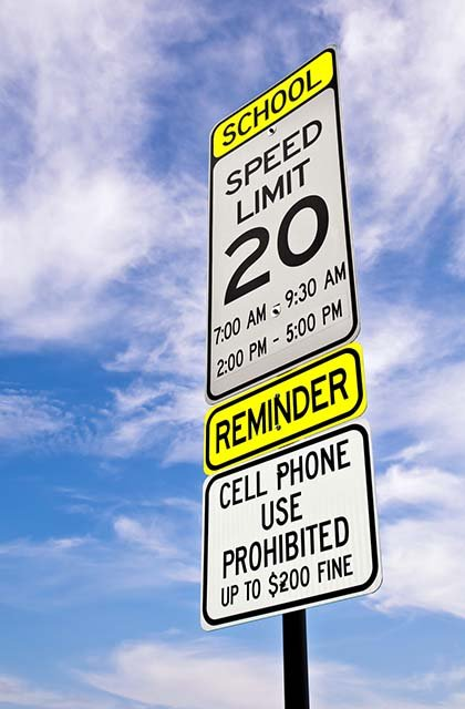 cell phone use is not allowed in school zones