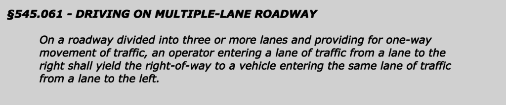 texas traffic code law, chapter 545