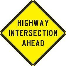 Highway intersection ahead is another warning traffic sign