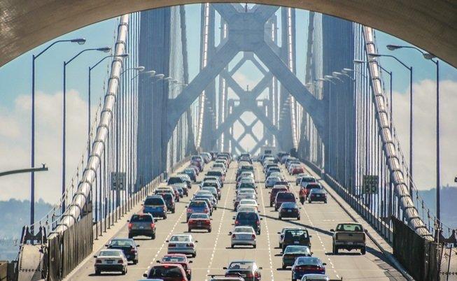 stuck in traffic on a bridge