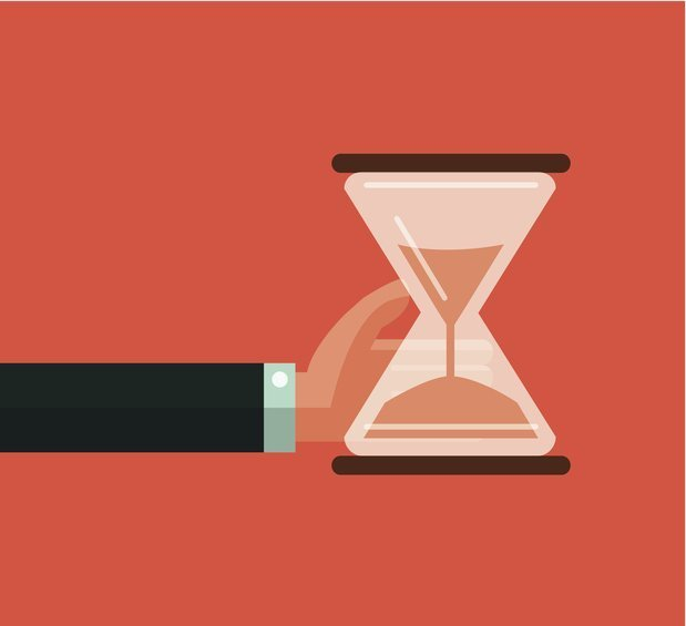 Hourglass timer concept for business deadline and leadership.