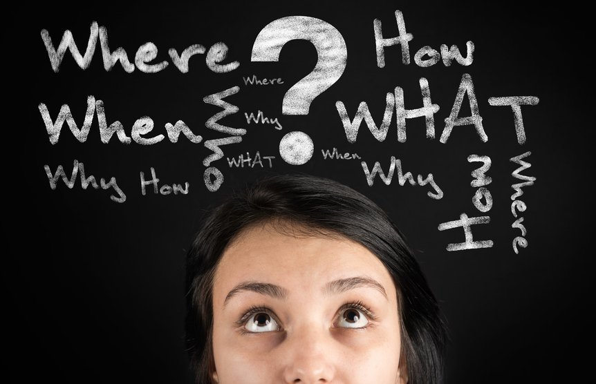 Questions in the young woman's head