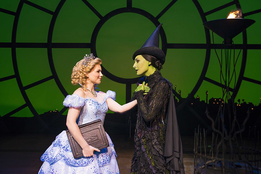Suzie Mathers (Glinda) and Willemijn Verkaik (Elphaba) in Wicked (Photo: Matt Crockett)