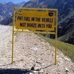 driving safety sign in the Himalayas