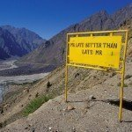 Manali-Leh Highway driving safety sign