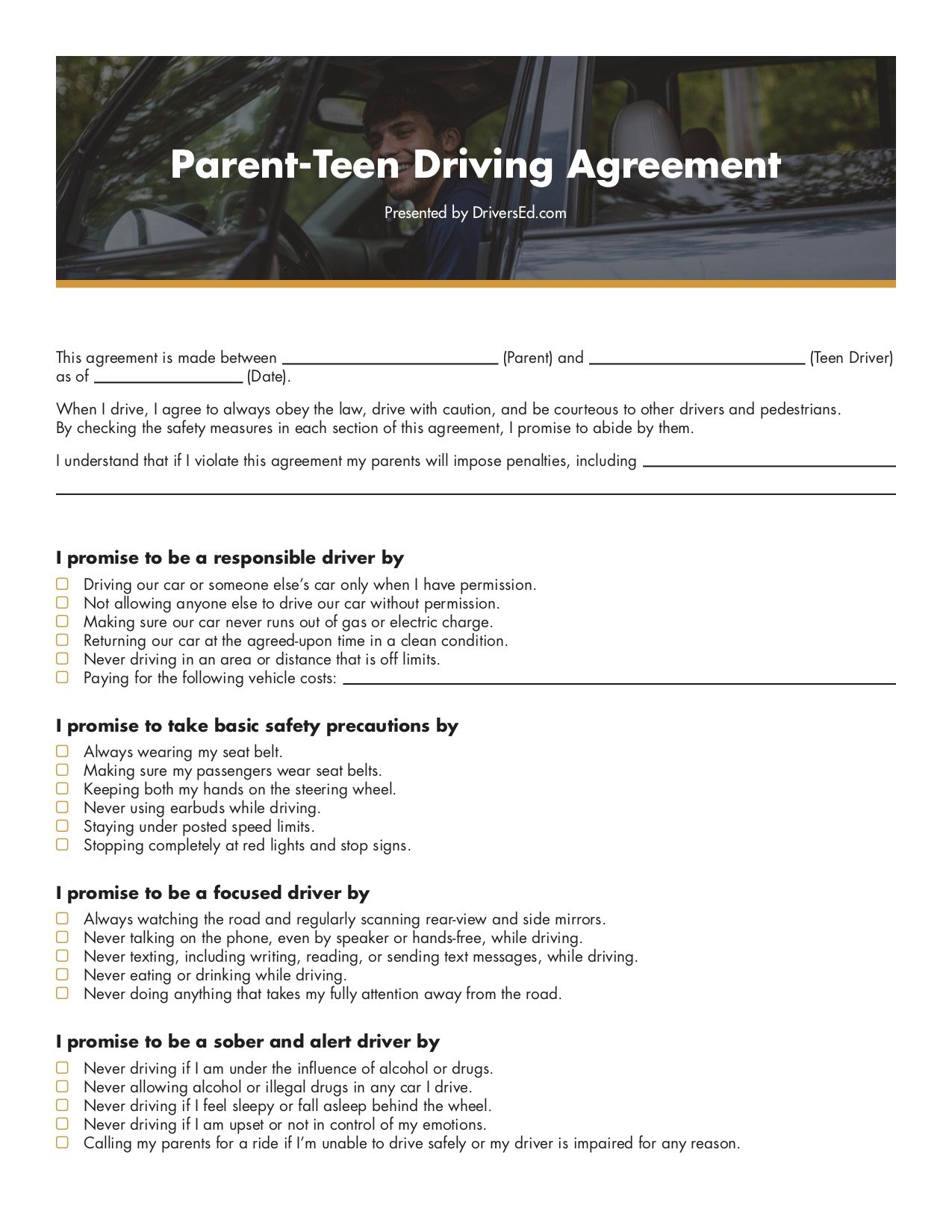 DriversEd.com Parent-Teen Driving Contract