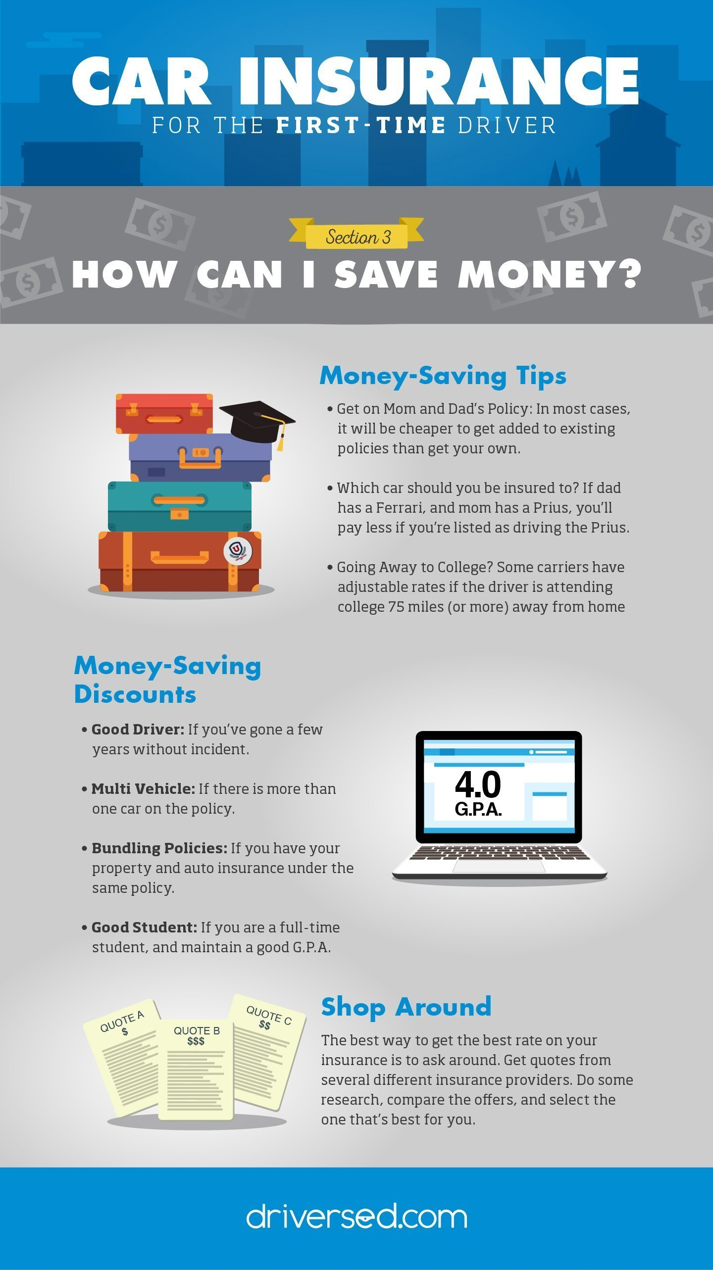 Car Insurance 101 Infographic, laying out ways to save money on car insurance for first-time drivers (and others).