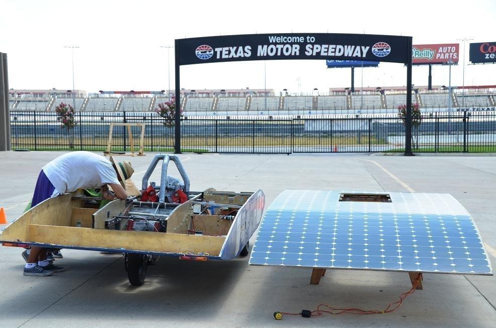 Maintenance on Solar Car on Texas Motor Speedway