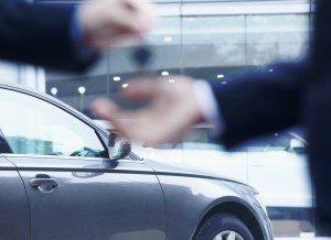 car buyer getting keys