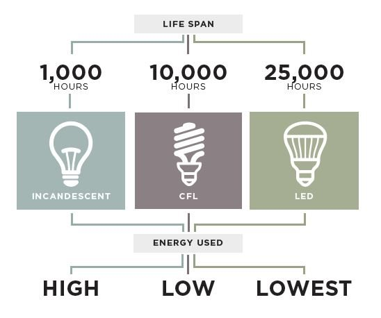 A graphic that shows the average lifespans of incandescent bulbs, CFL bulbs, and LED bulbs