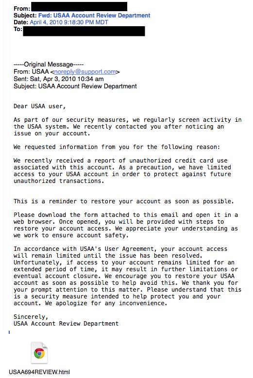 USAA phishing example