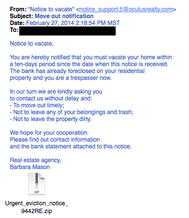 Real estate phishing example