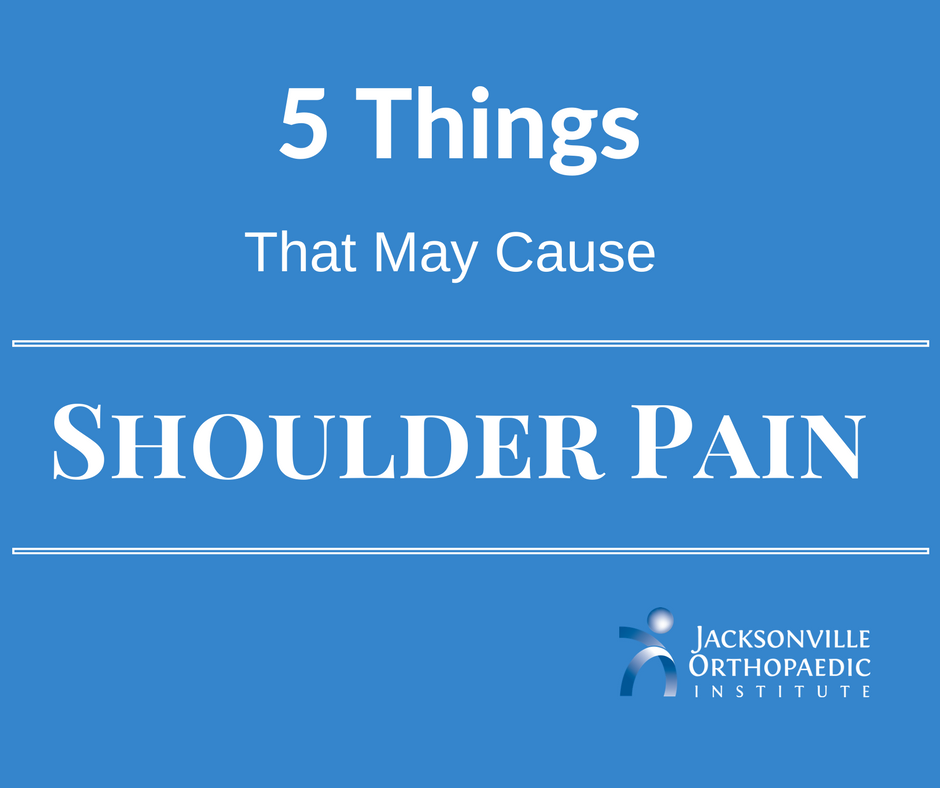 shoulder pain article that includes 5 things that may lead to shoulder pain