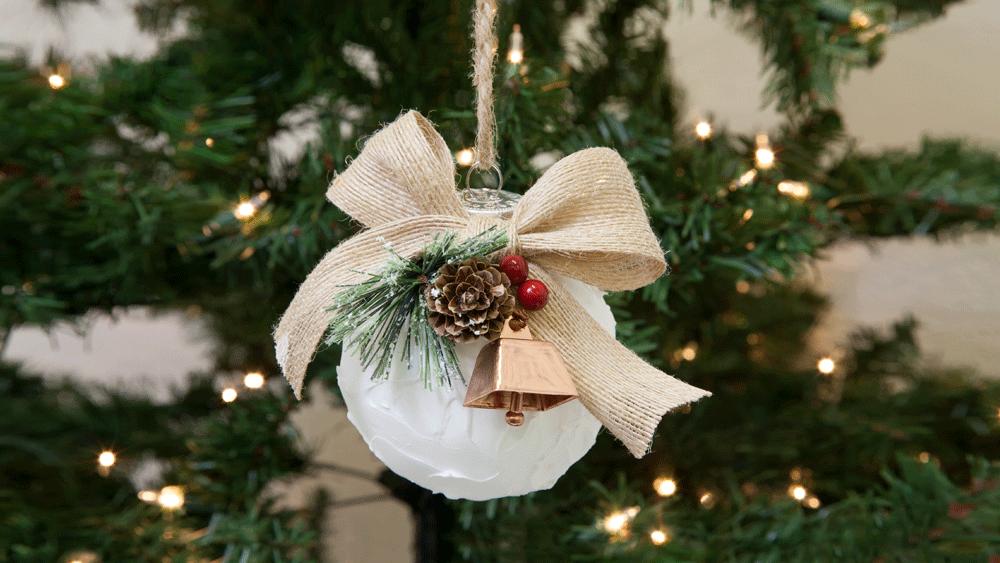 DIY snowball ornaments