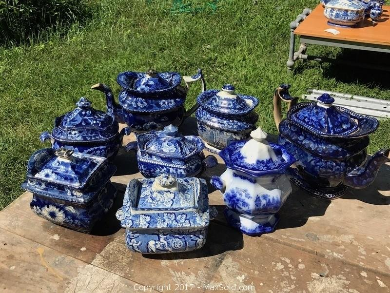 Antique Blue and White English Transferware China and Teapots