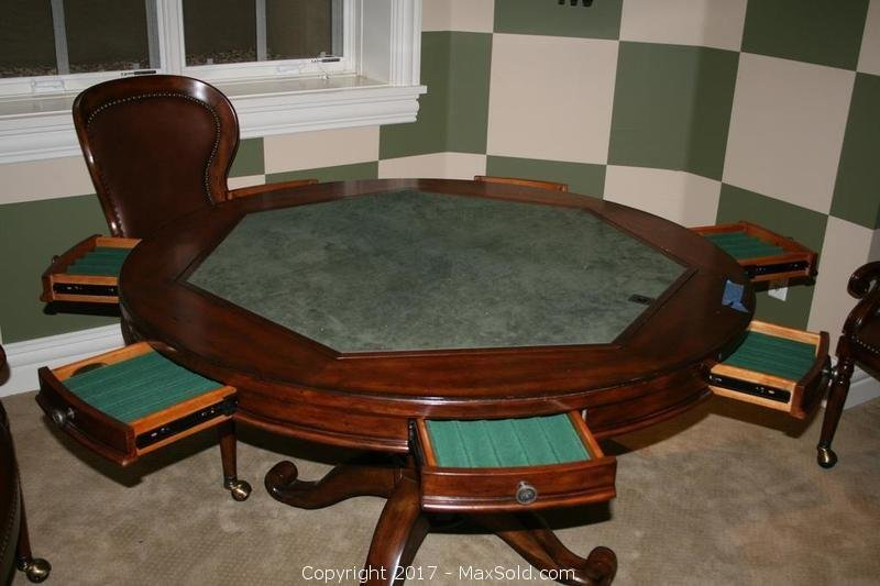 Round Pedestal Poker Table