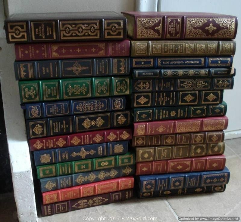 25 Franklin Library books in cloth covers with leather spines