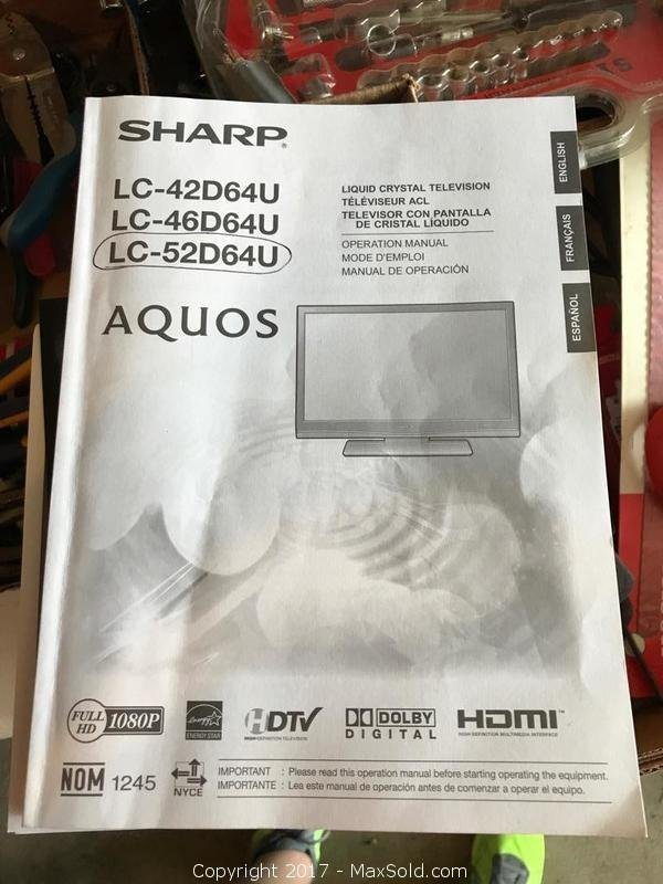 Sharp LC 52D64U Aquos Flat Screen TV