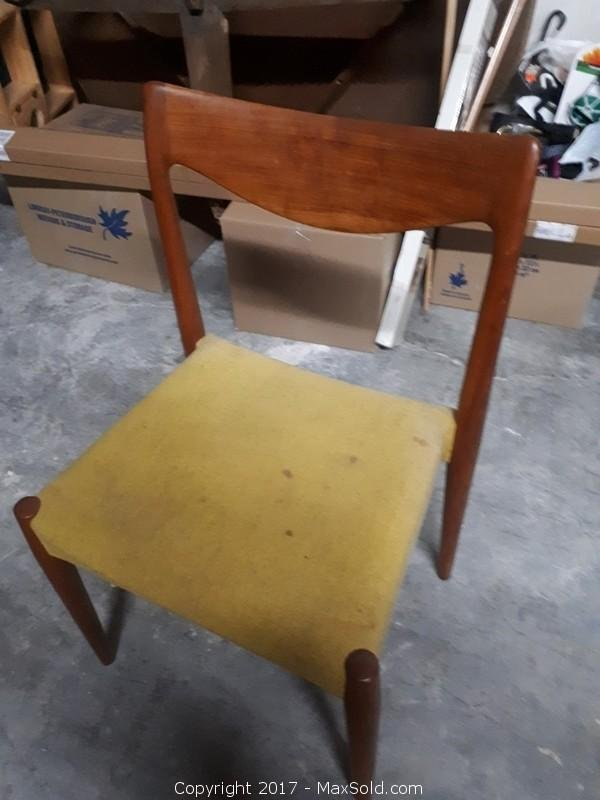 6 Midentury Scandinavian Teal chairs. Marked Made in Norway