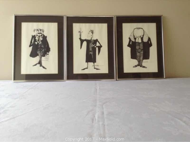 Three Caricature Lithos Of Lawyers Framed Signed