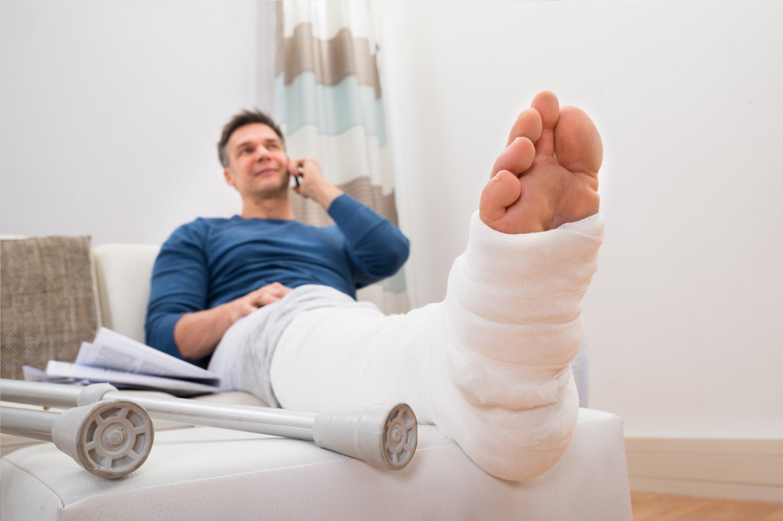 man with a broken foot