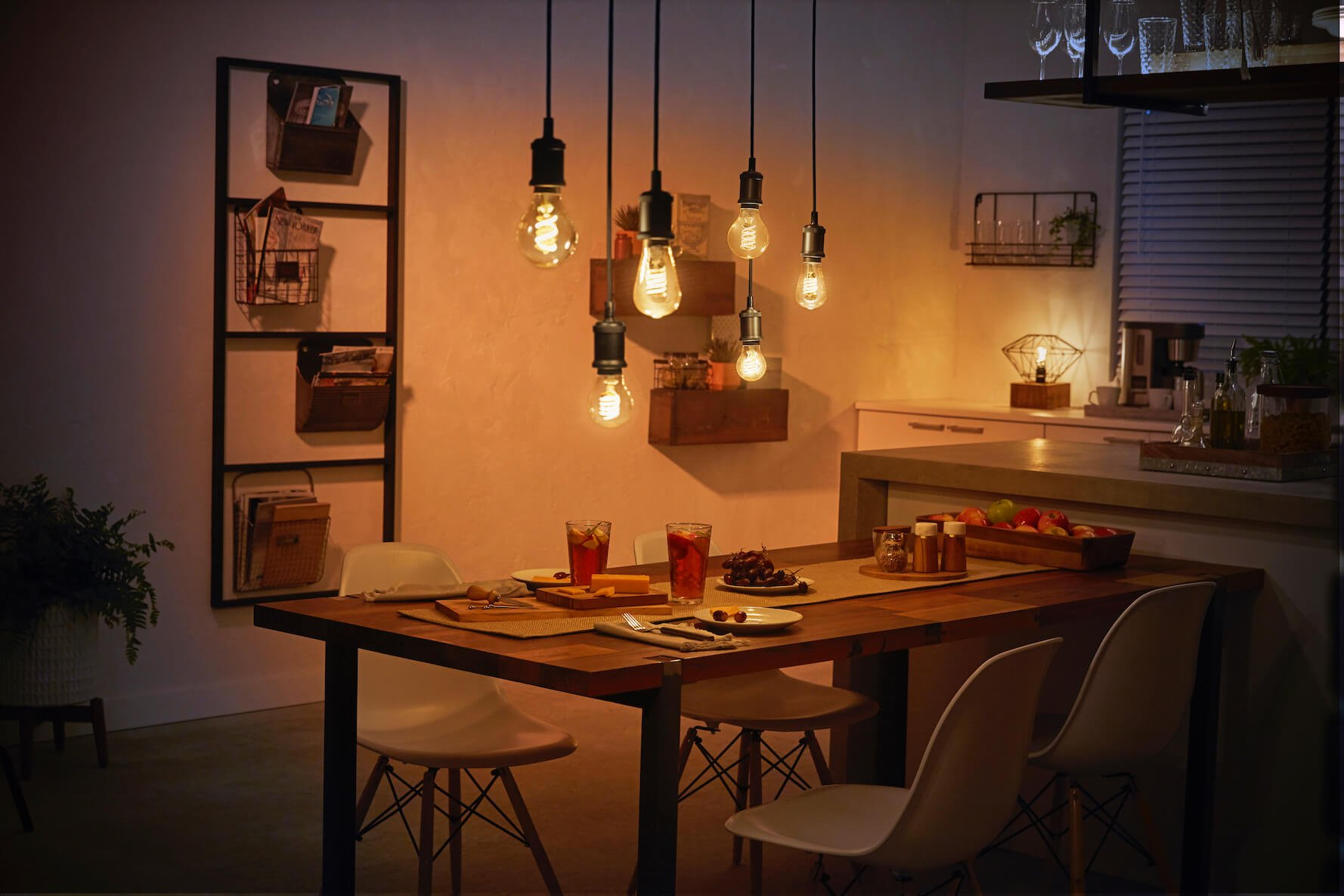 Dining room with filament smart bulbs