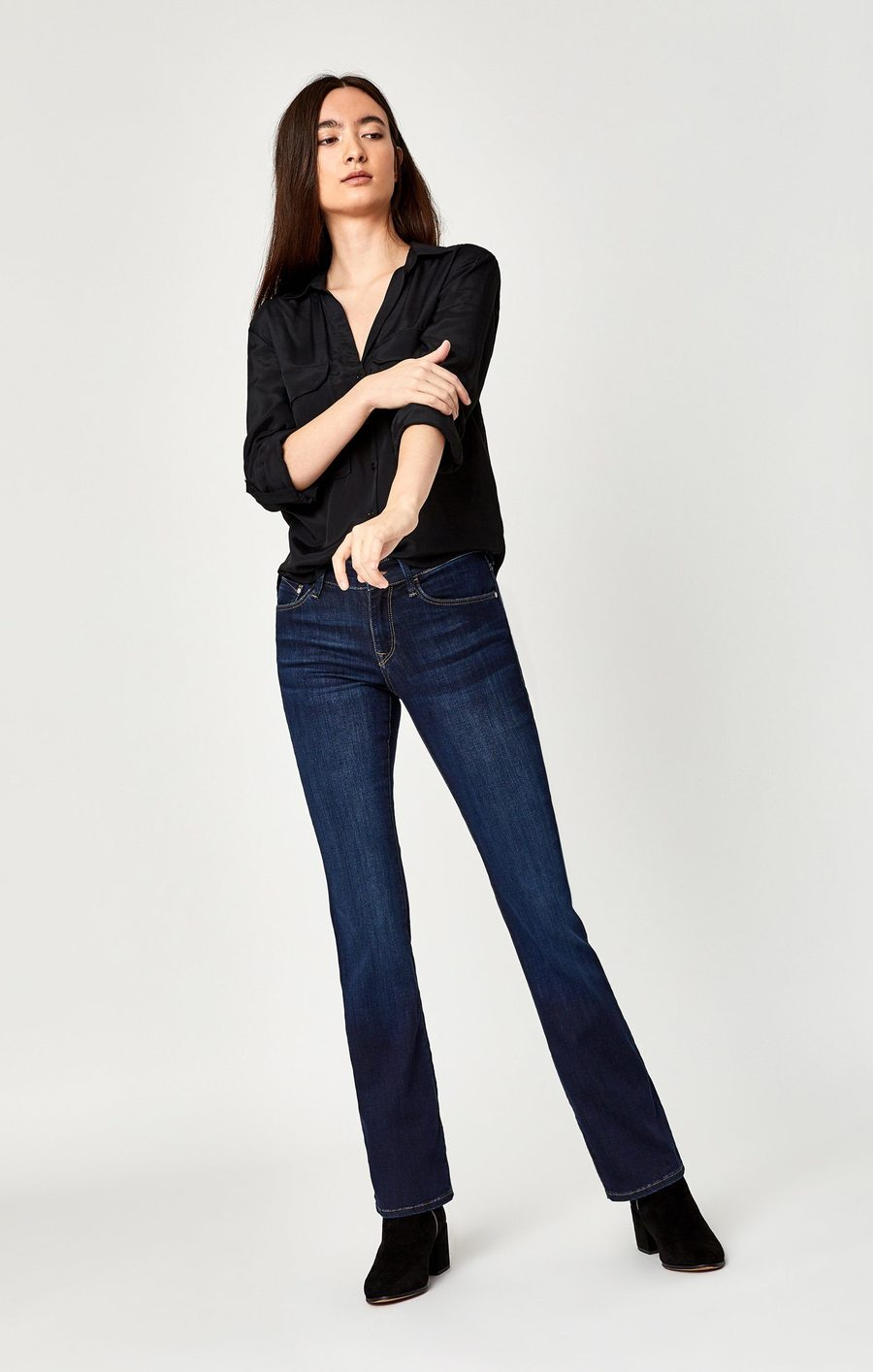 Molly Mid-Rise Bootcut Jeans in Deep SuperSoft